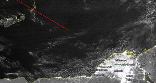 Satellite image showing area where MS804 disappeared on 19 May 2016
