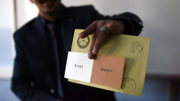 A man shows a voting ballot with the words in Turkish that read, 'Evet' or Yes and 'Hayir' or No as people vote in the referendum on expanding the powers of the Turkish president on April 16, 2017 in Istanbul.