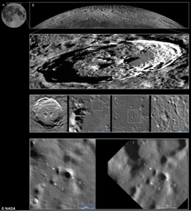 The pits were identified using high-resolution images of the moon's surface (pictured) taken by Nasa's Lunar Reconnaissance Orbiter (LRO) probe.The pits appear as small rimless holes, typically 50 to 100 feet across (15 to 30 meters), with completely shadowed interiors (bottom)
